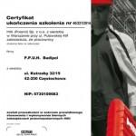 Certyfikat otrzymany od firmy Hilti - zabezpieczenia p.poż.