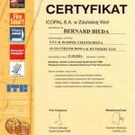 Certyfikat od firmy Icopal