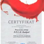 Certyfikat otrzymany od firmy Tikkurila